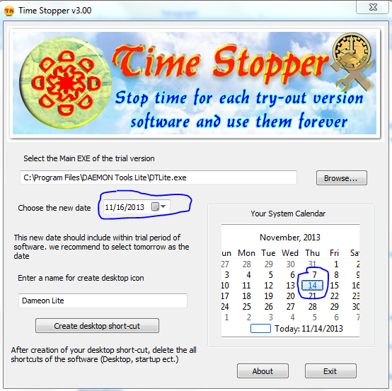 Use Trial Version Softwares Lifetime Using Time Stopper Software