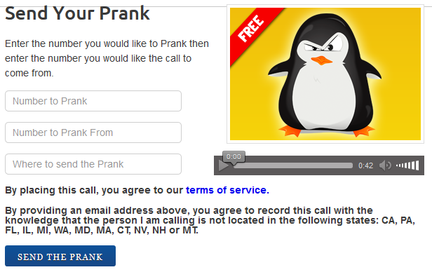 Funniest prank call site! Send anonymous pre-recorded prank calls to friends and record the reaction live!